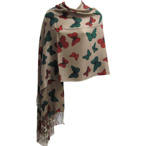 Fringed Luxurious Butterfly Large Pashmina Shawl Wrap Scarf - Ambali Fashion