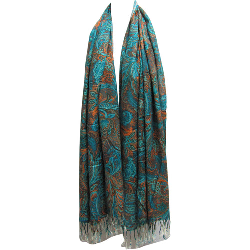 Fringed Luxurious Paisley Pashmina Scarf Shawl Turquoise & Orange - Ambali Fashion