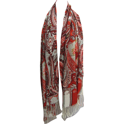 Large Fringed Luxurious Rose & Paisley Pashmina Scarf Shawl Red & White - Ambali Fashion