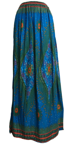 Bohemian Cotton Side Slit A-Line Ethnic Peacock Print Long Maxi Skirt THNONA 8 - Ambali Fashion