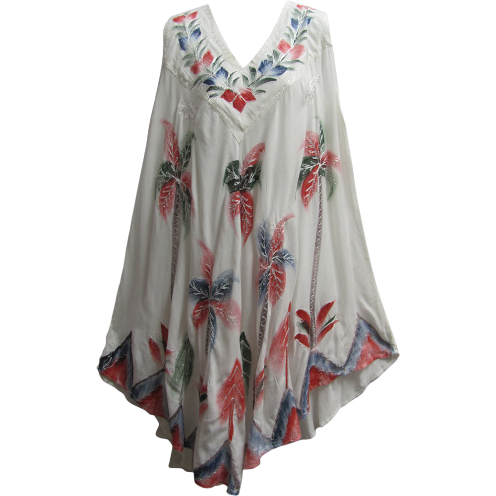 Missy Plus Indian Embroidered Boho Palm Tree White Sleeveless Sundress Caftan - Ambali Fashion