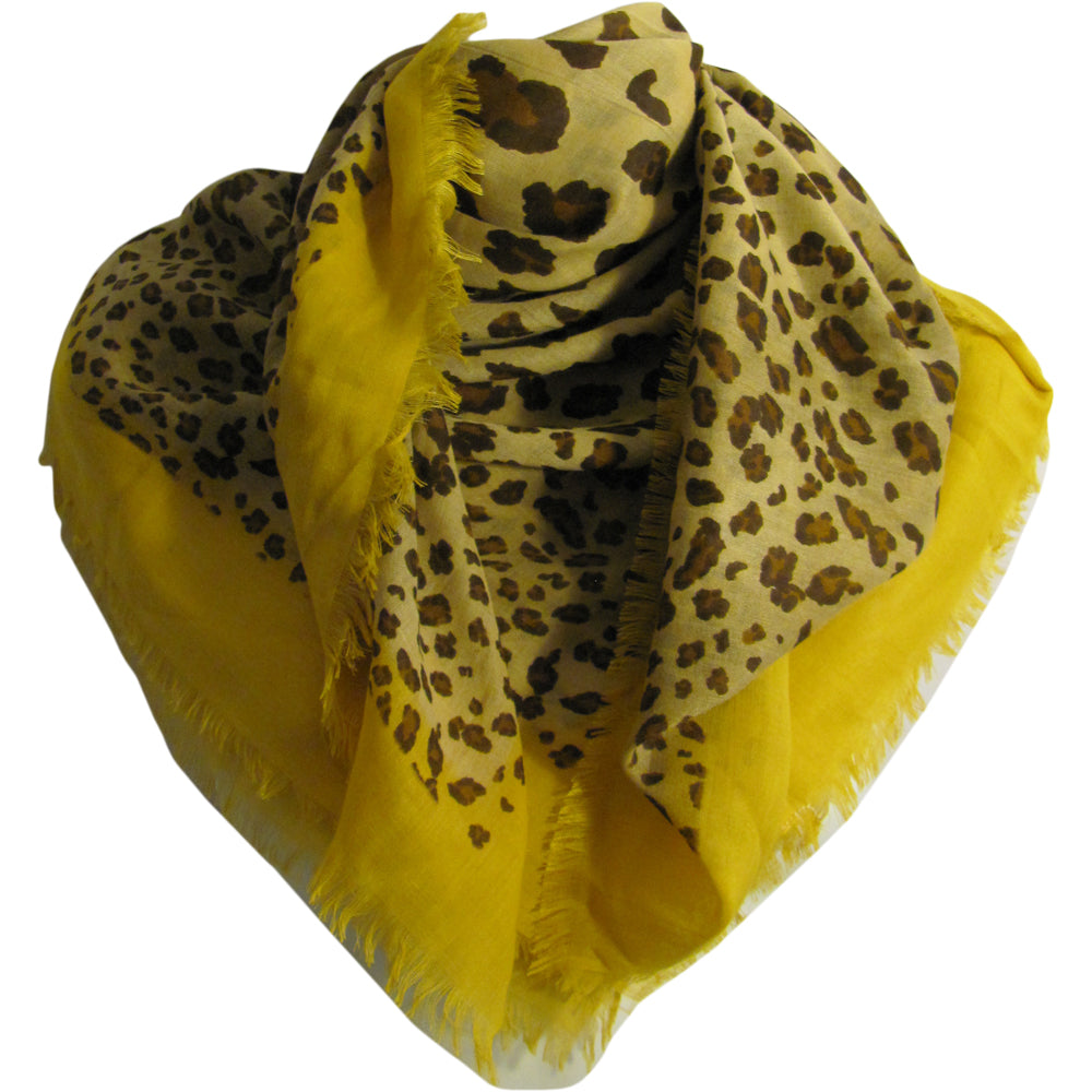 Yellow Trendy Unisex Soft Leopard Print Scarf Shawl JK402 - Ambali Fashion