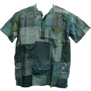 Men's Indian Bohemian Hippie Blue Short Sleeve Vintage Patchwork Shirt - Ambali Fashion