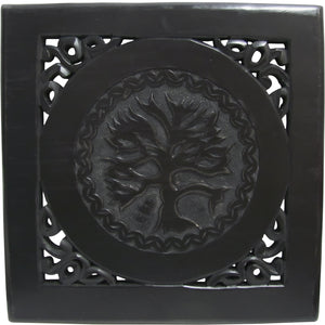 Vintage Style Hand-Carved Wooden Tree of Life Wall Art Plaque - Ambali Fashion