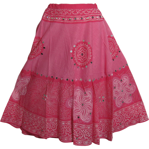 Bohemian Gypsy Indian Cotton Jaipur Bandhej Sequined Tie-Dye Mid Length Skirt Pink - Ambali Fashion
