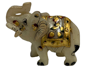 Vintage Hand-Crafted Marble Indian Collectible White Elephant Figurine - Ambali Fashion