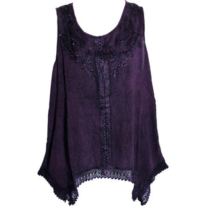 Indian Bohemian Marble Wash Embroidered Cotton Sleeveless Cami Blouse Top - Ambali Fashion