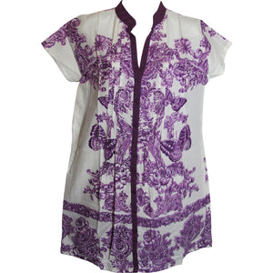 Indian Cotton Button Down Floral Butterfly Short Sleeve Shift Dress - Ambali Fashion