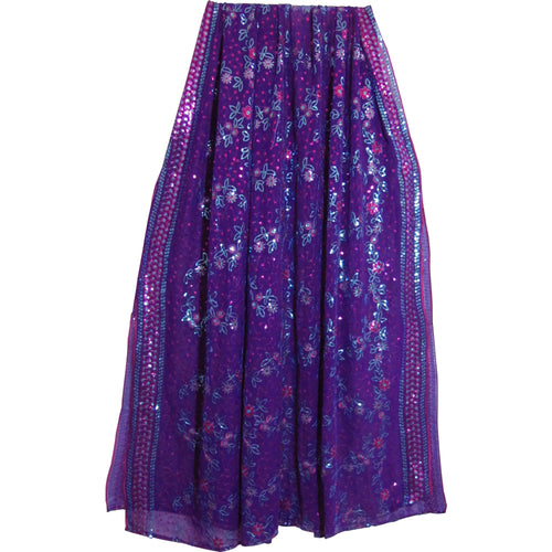 Purple Shimmering Embroidered Georgette Sequined Fabric Sari Scarf Shawl Wrap - Ambali Fashion