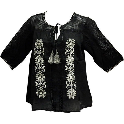 Bohemian Missy Plus Cotton Lace Embroidered 3/4 Sleeve Peasant Blouse Top - Ambali Fashion