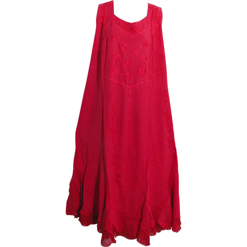 Women's Plus Fuchsia Embroidered Stonewashed Sleeveless Long Dress - Ambali Fashion