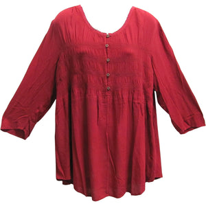 Women's Plus Smocked 3/4 Sleeve Bohemian Peasant Top Blouse - Ambali Fashion