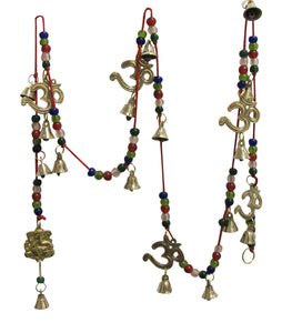 Om Ganesh Beaded Bell Yoga Zen Meditation Harmony Brass Wind Chime - Ambali Fashion