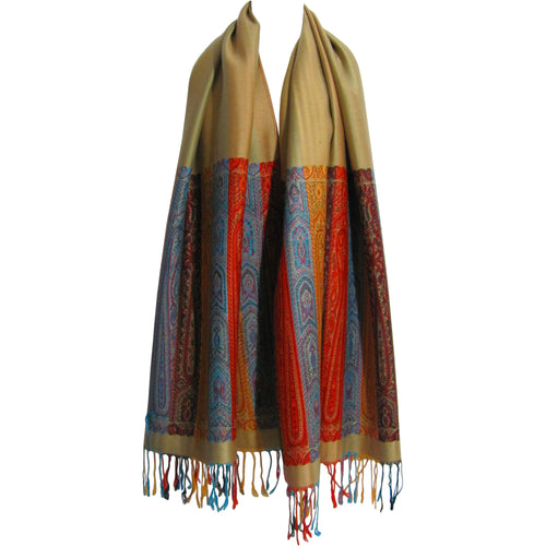 Reversible Bordered Fringe Paisley Silk Pashmina Scarf Shawl Wrap - Ambali Fashion
