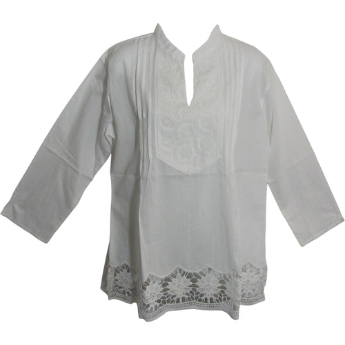 Missy Plus Indian Cotton Lace Eyelet Long Sleeve White Tunic Blouse LD3 - Ambali Fashion