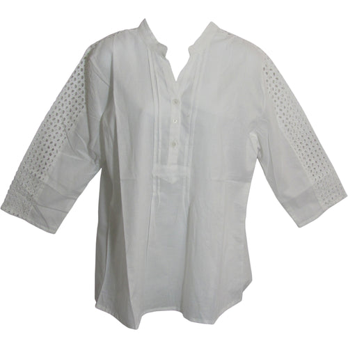 Missy Plus Indian Cotton Eyelet 3/4 Sleeve White Tunic Blouse LD2 - Ambali Fashion