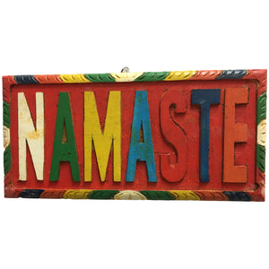 "Vintage Hand-Carved Namaste Wooden Wall Plaque (9.5"" x 4"") - Ambali Fashion"