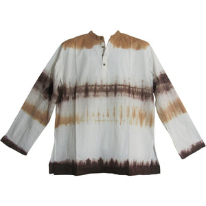 Men's Cotton Tie-Dye Mandarin Collar Long Sleeve Tunic Shirt Minesh - Ambali Fashion