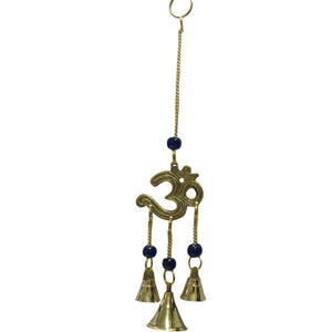 "9"" Hindu Yoga Meditation Om/Ohm 3 Bell Brass Wind Chime w/ Glass Beads - Ambali Fashion"