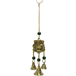 "9"" Ganesh Yoga Good Luck 3 Bell Home and Garden Brass Wind Chime w/ Glass Beads - Ambali Fashion"