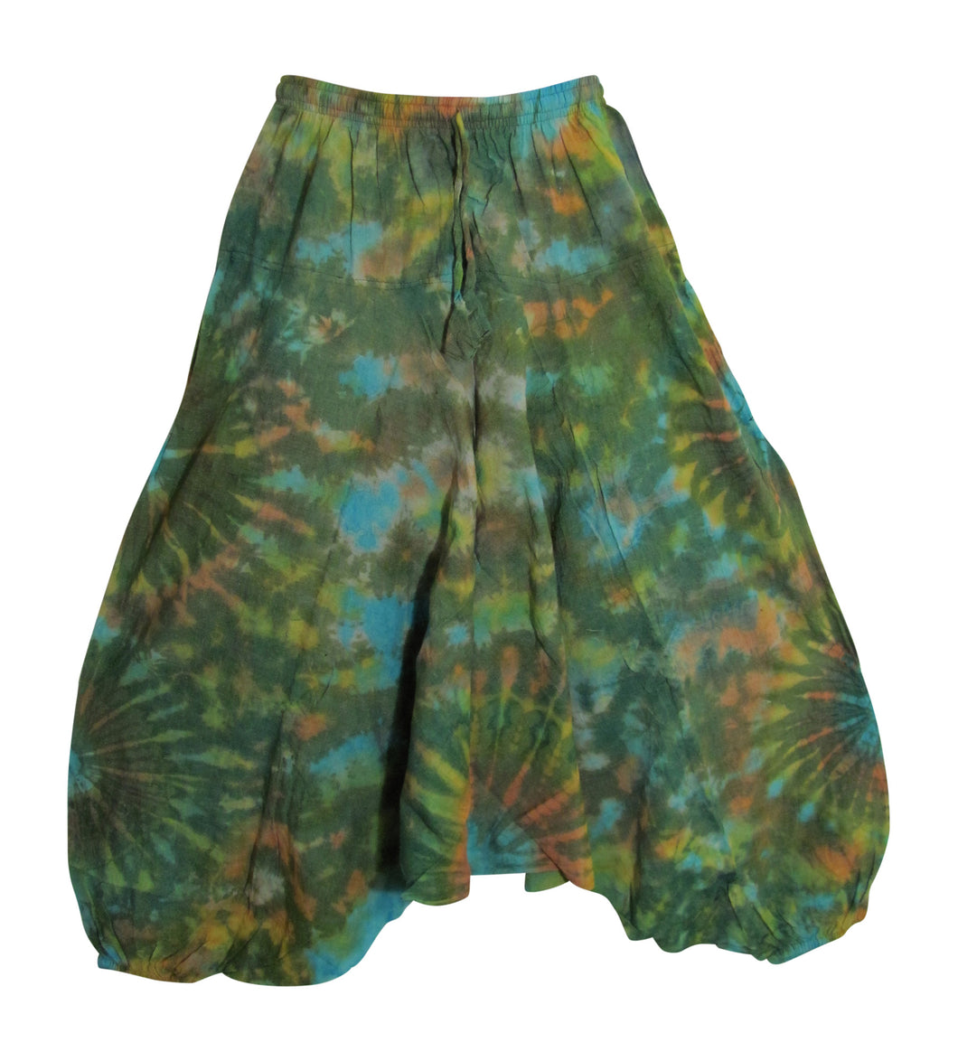Men's Vintage Hippie Aladdin Tie-Dye Stonewashed Cotton Yoga Baggy Harem Pants Green - Ambali Fashion