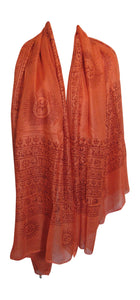 Ethnic Om (Aum) Mantra Sanskrit Block Print Long Indian Cotton Scarf - Ambali Fashion