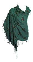 Indian Ethnic Yoga Block Print Long Om Prayer Scarf Shawl Stole Shanti - Ambali Fashion
