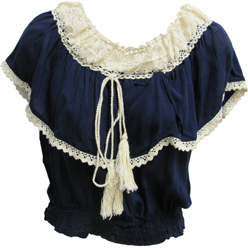 Vintage Bohemian Ruffled Smocked Off Shoulder Peasant Top Blouse - Ambali Fashion