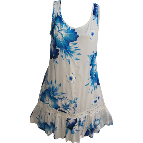 Bohemian White Bright Ruffled A-Line Sleeveless Mini Floral Sun Dress TH HULA C - Ambali Fashion