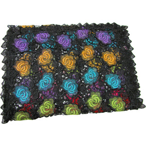 Black Multicolor Rose Lace Guipure Fabric Embroidered Shimmering Long Fashion Scarf - Ambali Fashion