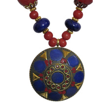 Handmade Lapis Coral Nepali Gypsy Bohemian Tibetan Long Bead Necklace - Ambali Fashion