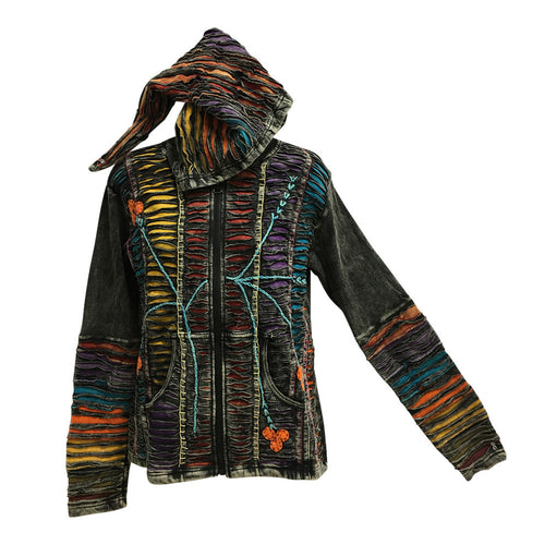 Ethnic Embroidered Stonewashed Designer Cotton Jacket Hoodie Outerwear - Ambali Fashion