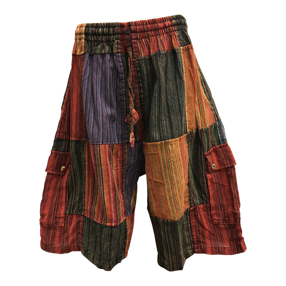 Men's Ethnic Print Stonewashed Cotton Patchwork Cargo Shorts - Ambali Fashion