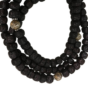 Tibetan Vintage 7mm Rudraksha with Conch Shell Bead Yoga Meditation Prayer Shiva Energy Mala Necklace - Ambali Fashion