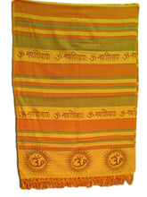 Saffron Yellow Om Namah Shivay Full Size Bedspread Tapestry Throw - Ambali Fashion