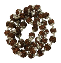 Handmade 54ct Indian Pure Silver Capped Rudraksha Yoga Mala Bead Necklace - Ambali Fashion