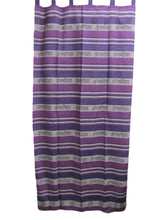 Purple Indian Cotton Om Namah Shivay Yoga Tab Top Curtain Panel - Ambali Fashion
