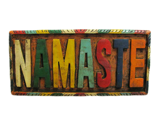 Vintage Hand-Carved Namaste Wooden Wall Plaque (9.5