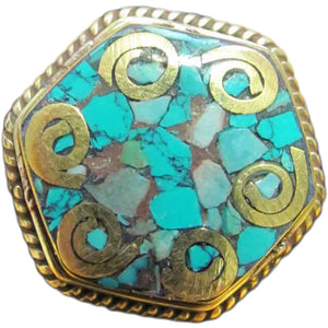 Adjustable Tibetan Turquoise Gold Toned Tribal Vintage Brass Ring - Ambali Fashion