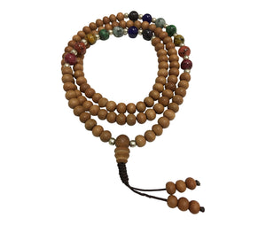 Handmade Genuine Sandalwood Tibetan Seven Chakra Yoga Meditation Mala Prayer Bead Necklace - Ambali Fashion