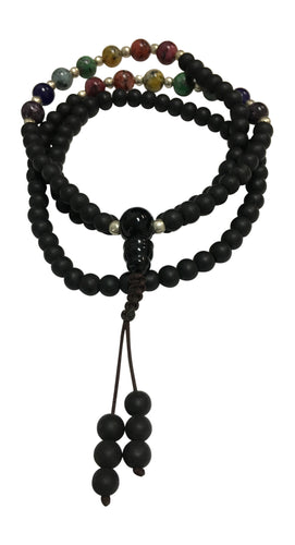 Handmade Matte Finish Obsidian Seven Chakra Yoga Meditation Mala Bead Necklace - Ambali Fashion