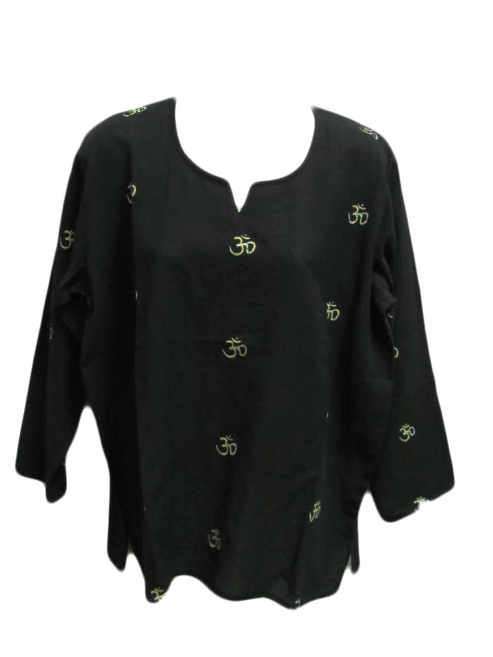 Women's Om Indian Yoga Bohemian Long Sleeve Tunic Top Blouse - Ambali Fashion