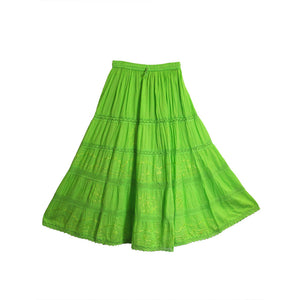 Bohemian Embroidered Lace 3-Tier Gauze Cotton Long Maxi Skirt - Ambali Fashion