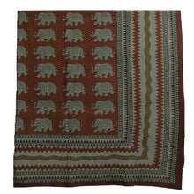 Elephant Block Print Indian Bohemian Powerloom Cotton Throw Blanket Tapestry Coverlet - Ambali Fashion