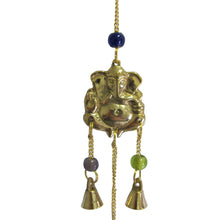 "21"" 3 Tier Brass Ganesh Wind Chime Yoga Good Luck Bell Home & Garden w/ Glass Beads - Ambali Fashion"