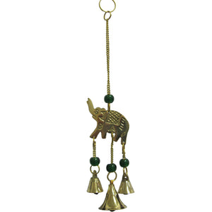 "9"" Brass 3 Bell Home and Garden Elephant Wind Chime /w Glass Beads - Ambali Fashion"