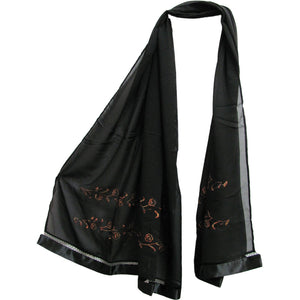Womens Sequined Embroidered Hijab Silk Chiffon Scarf Pashmina Shawl - Ambali Fashion