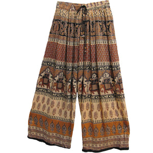 Womens Indian Bohemian Gypsy Ethnic Print Palazzo Pants (Brown Tones) - Ambali Fashion