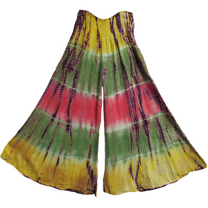 Bohemian Stonewashed Tie-Dye Gaucho Flared Wide Leg Palazzo Pants (Multicolored) - Ambali Fashion