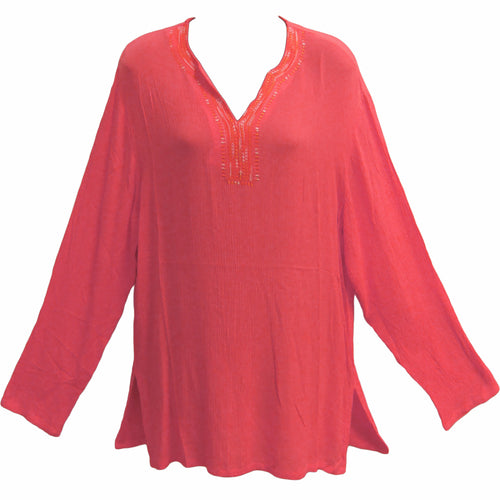 Women's Coral Bohemian Crinkled Cotton Long Sleeve Tunic Top Kurti - Ambali Fashion